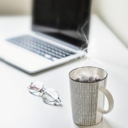 desk, tea, coffee